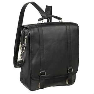 AMERILEATHER CONVERTIBLE BLACK BRIEFCASE BACKPACK